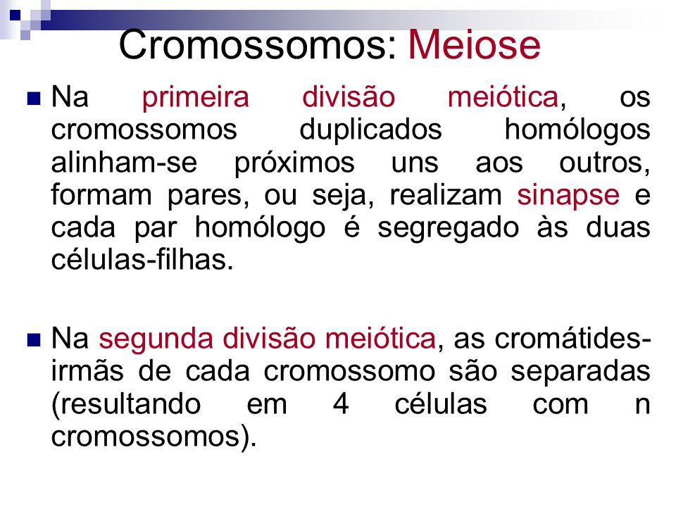 Cromossomos: Meiose