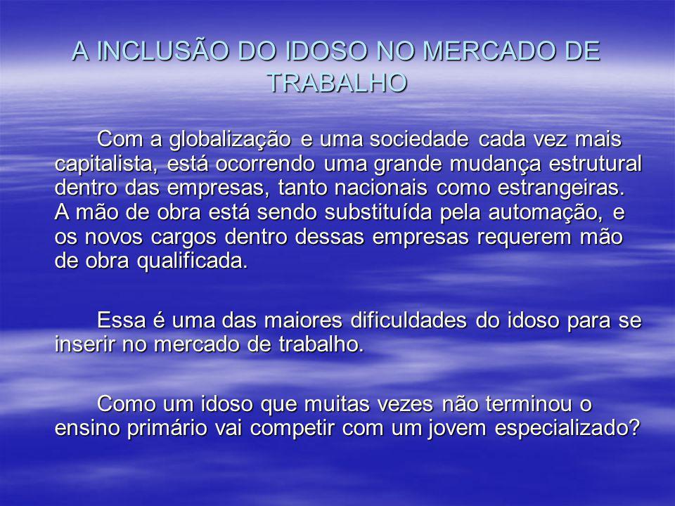 A INCLUSÃO DO IDOSO NO MERCADO DE TRABALHO