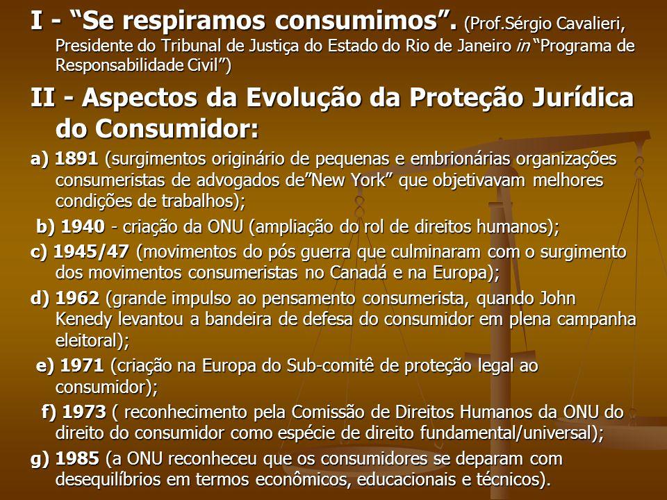 II - Aspectos da Evolução da Proteção Jurídica do Consumidor: