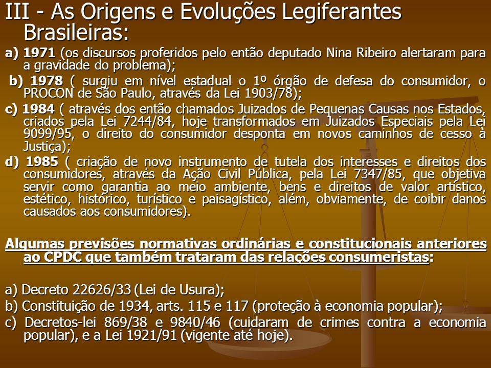 III - As Origens e Evoluções Legiferantes Brasileiras: