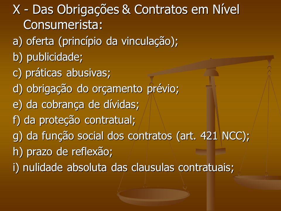 X - Das Obrigações & Contratos em Nível Consumerista: