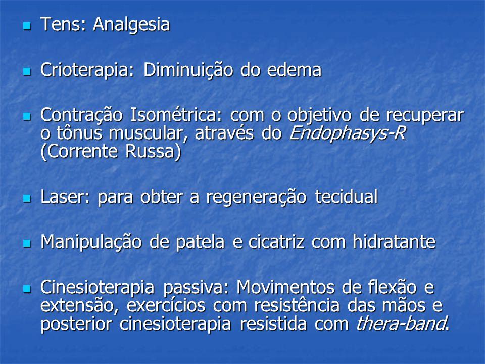 Tens: Analgesia Crioterapia: Diminuição do edema.