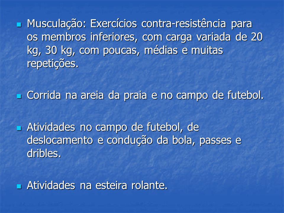 Musculação: Exercícios contra-resistência para os membros inferiores, com carga variada de 20 kg, 30 kg, com poucas, médias e muitas repetições.
