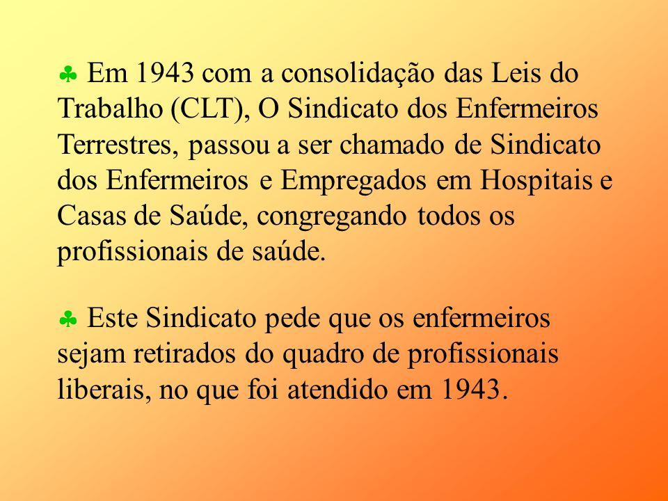 Em 1943 com a consolidação das Leis do Trabalho (CLT), O Sindicato dos Enfermeiros Terrestres, passou a ser chamado de Sindicato dos Enfermeiros e Empregados em Hospitais e Casas de Saúde, congregando todos os profissionais de saúde.