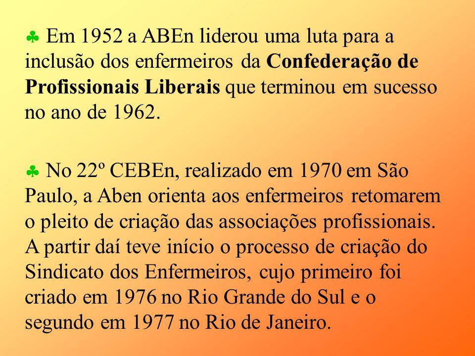 Em 1952 a ABEn liderou uma luta para a inclusão dos enfermeiros da Confederação de Profissionais Liberais que terminou em sucesso no ano de 1962.