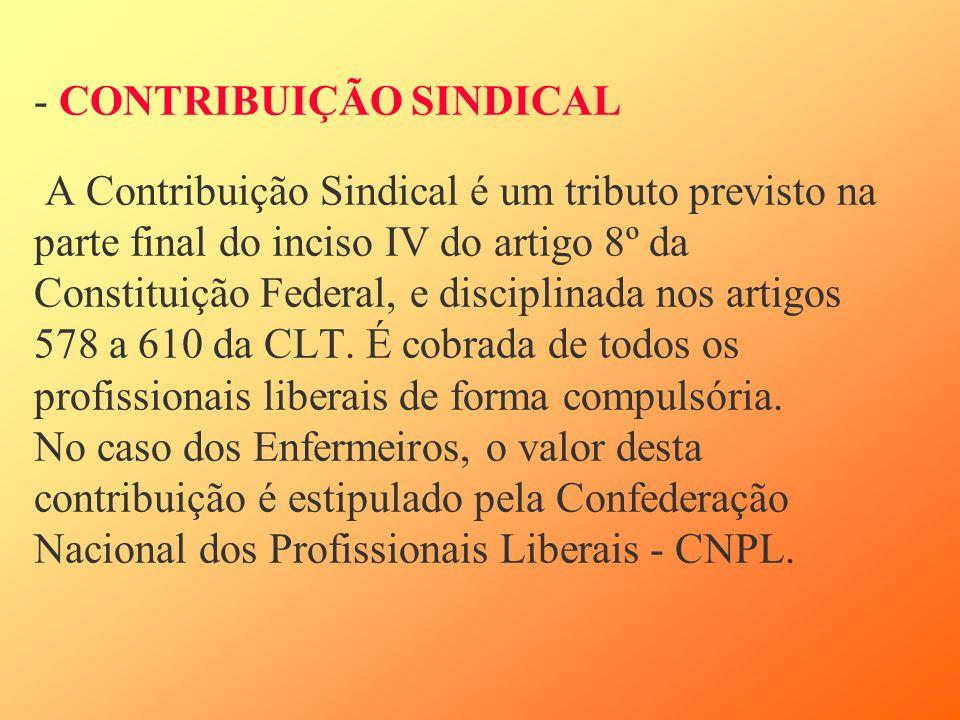 - CONTRIBUIÇÃO SINDICAL A Contribuição Sindical é um tributo previsto na parte final do inciso IV do artigo 8º da Constituição Federal, e disciplinada nos artigos 578 a 610 da CLT.