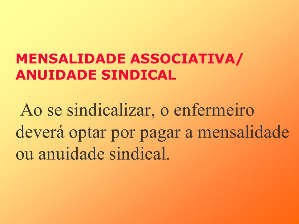 MENSALIDADE ASSOCIATIVA/ ANUIDADE SINDICAL Ao se sindicalizar, o enfermeiro deverá optar por pagar a mensalidade ou anuidade sindical.