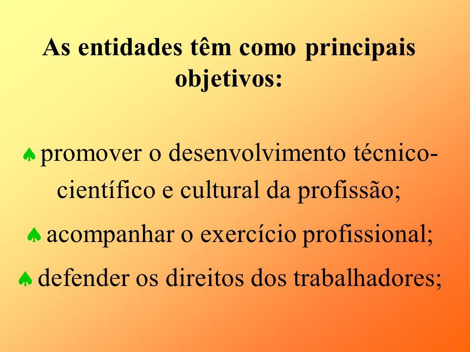 As entidades têm como principais objetivos: