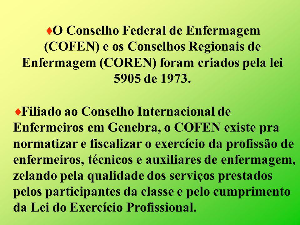 O Conselho Federal de Enfermagem (COFEN) e os Conselhos Regionais de Enfermagem (COREN) foram criados pela lei 5905 de 1973.