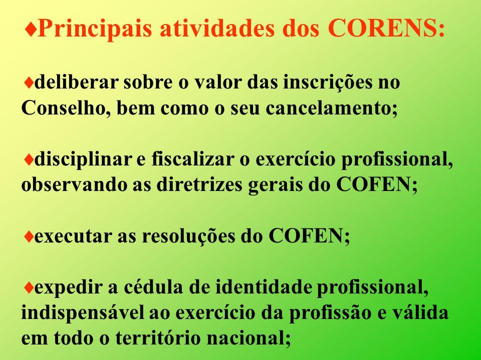 Principais atividades dos CORENS: