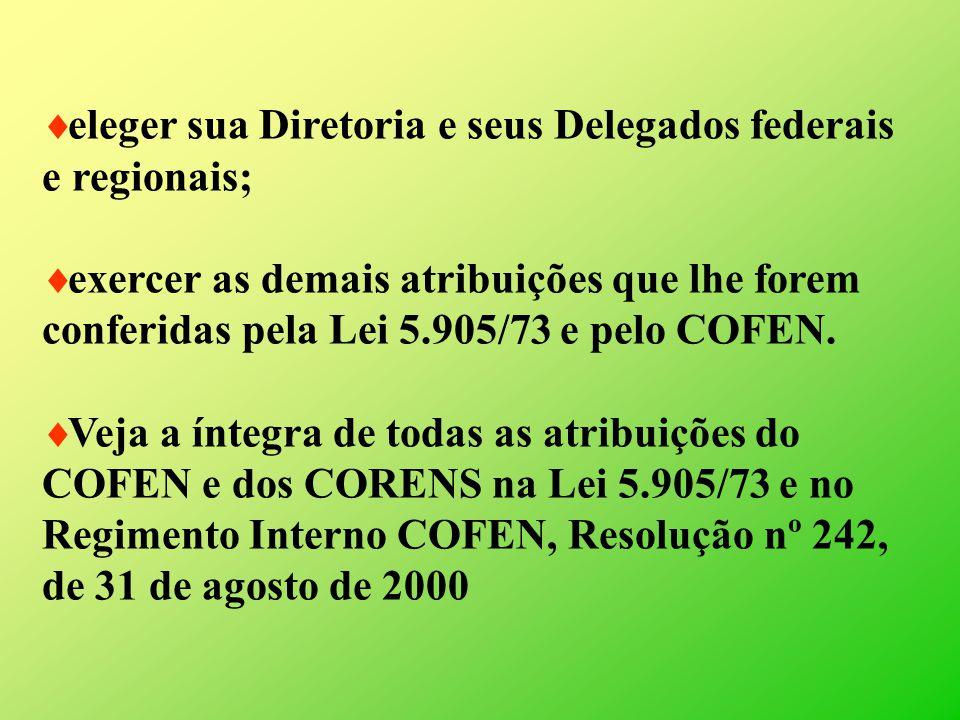 eleger sua Diretoria e seus Delegados federais e regionais;
