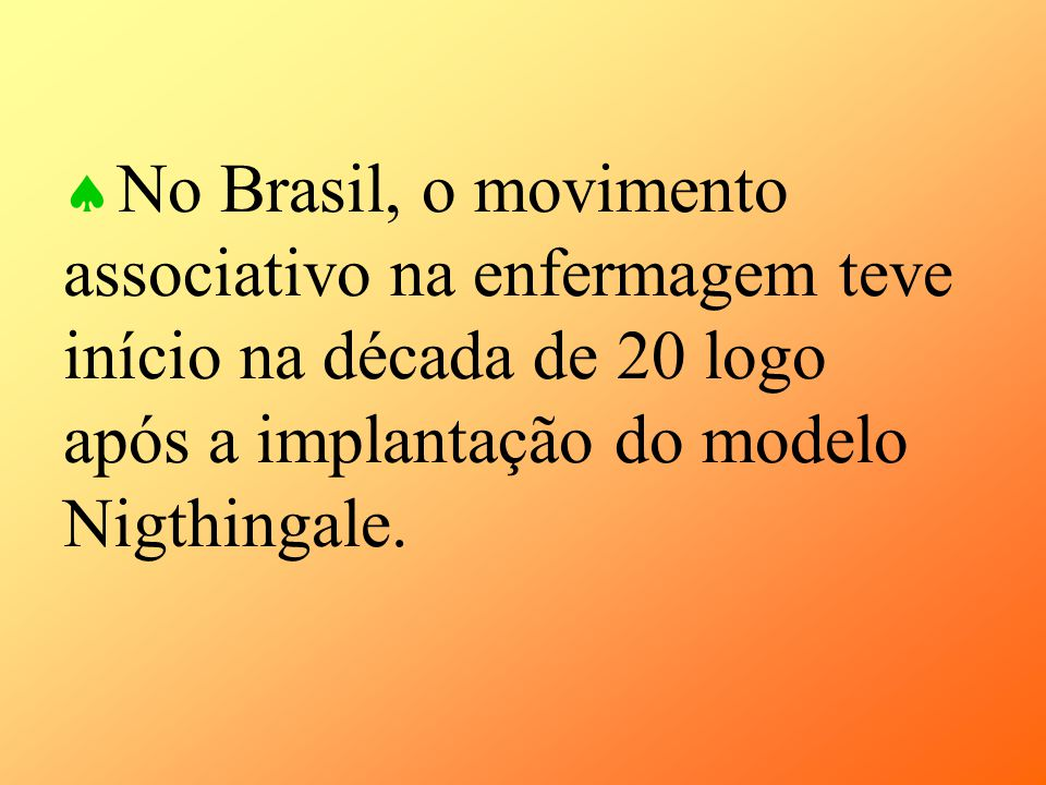 No Brasil, o movimento associativo na enfermagem teve início na década de 20 logo após a implantação do modelo Nigthingale.