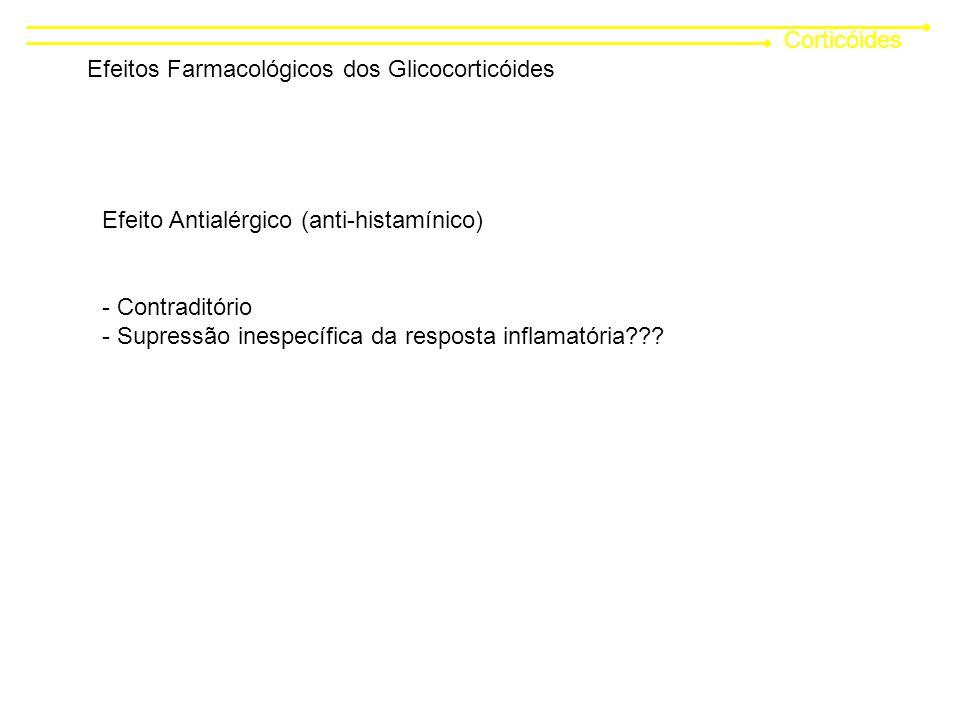 Corticóides Efeitos Farmacológicos dos Glicocorticóides. Efeito Antialérgico (anti-histamínico) Contraditório.