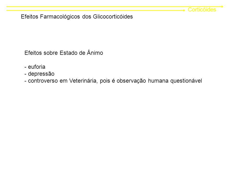Corticóides Efeitos Farmacológicos dos Glicocorticóides. Efeitos sobre Estado de Ânimo. euforia. depressão.
