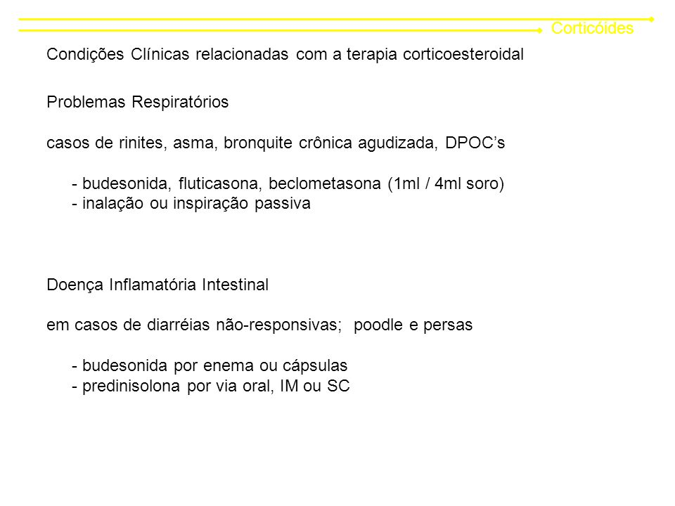 Corticóides Condições Clínicas relacionadas com a terapia corticoesteroidal. Problemas Respiratórios.