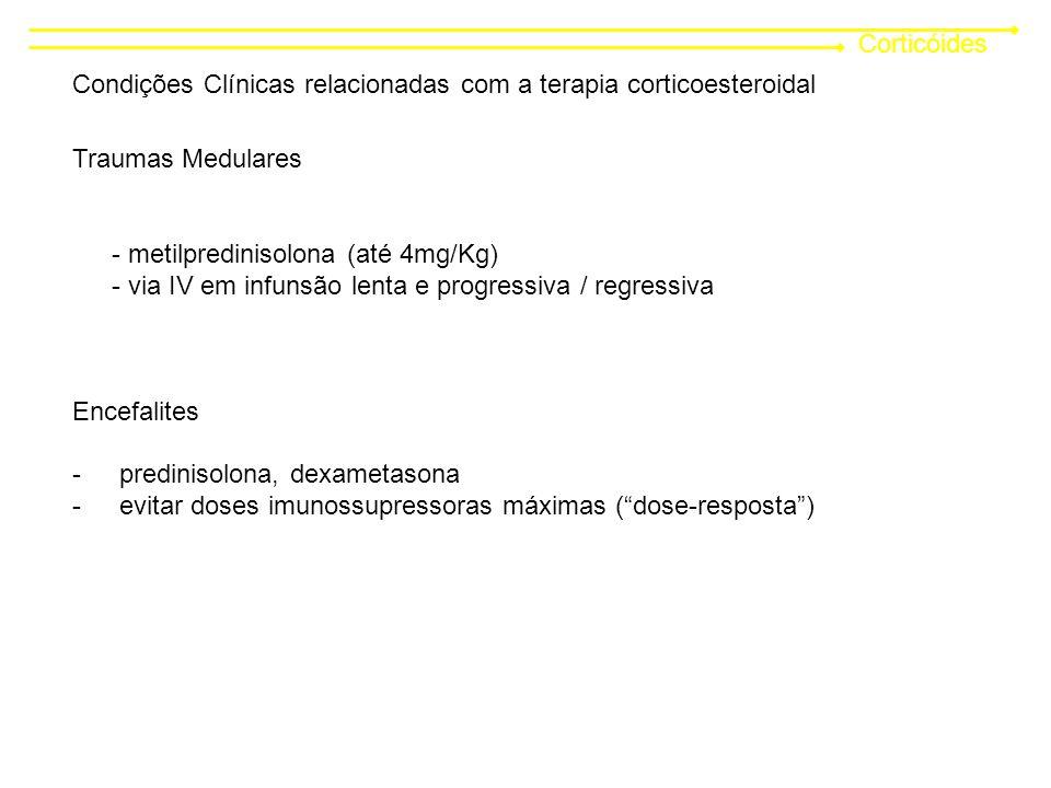 Corticóides Condições Clínicas relacionadas com a terapia corticoesteroidal. Traumas Medulares. - metilpredinisolona (até 4mg/Kg)