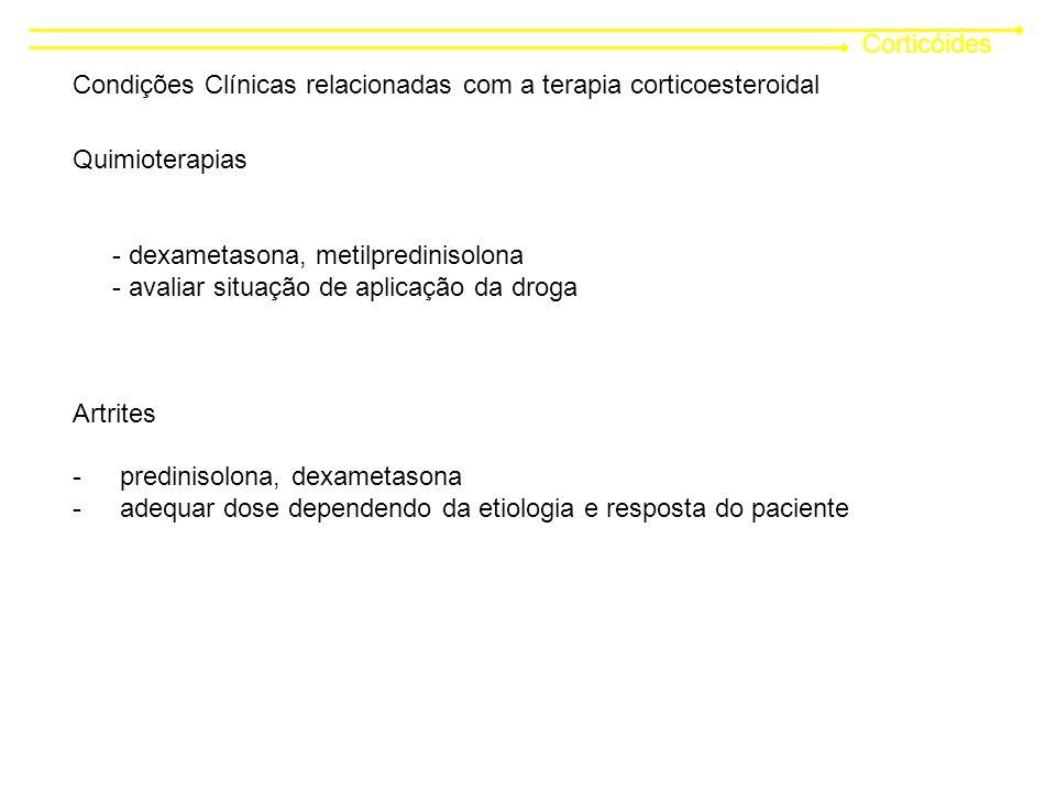 Corticóides Condições Clínicas relacionadas com a terapia corticoesteroidal. Quimioterapias. - dexametasona, metilpredinisolona.