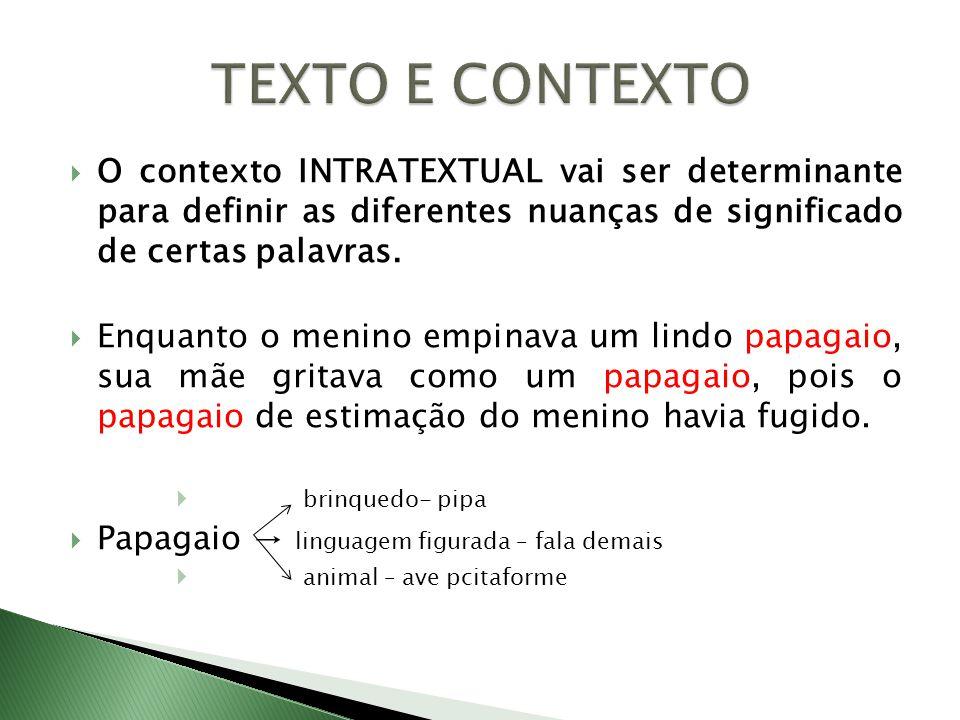 TEXTO E CONTEXTO O contexto INTRATEXTUAL vai ser determinante para definir as diferentes nuanças de significado de certas palavras.