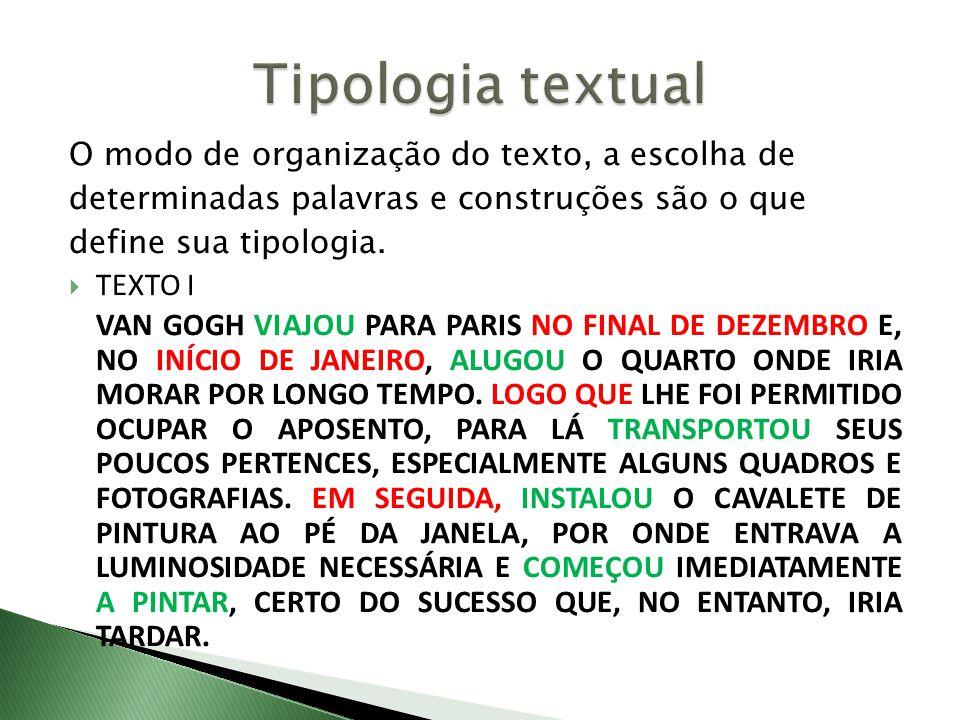 Tipologia textual O modo de organização do texto, a escolha de