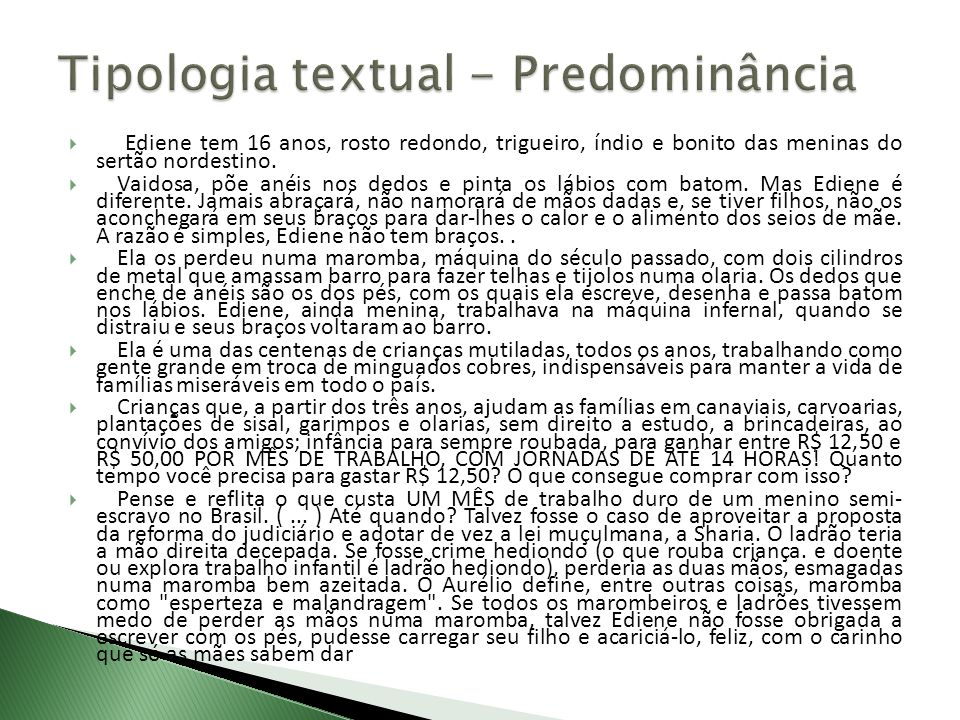Tipologia textual - Predominância