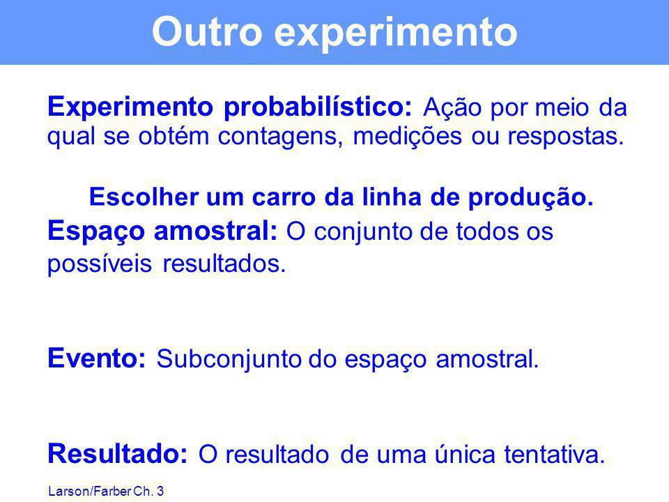 Outro experimento Experimento probabilístico: Ação por meio da qual se obtém contagens, medições ou respostas.