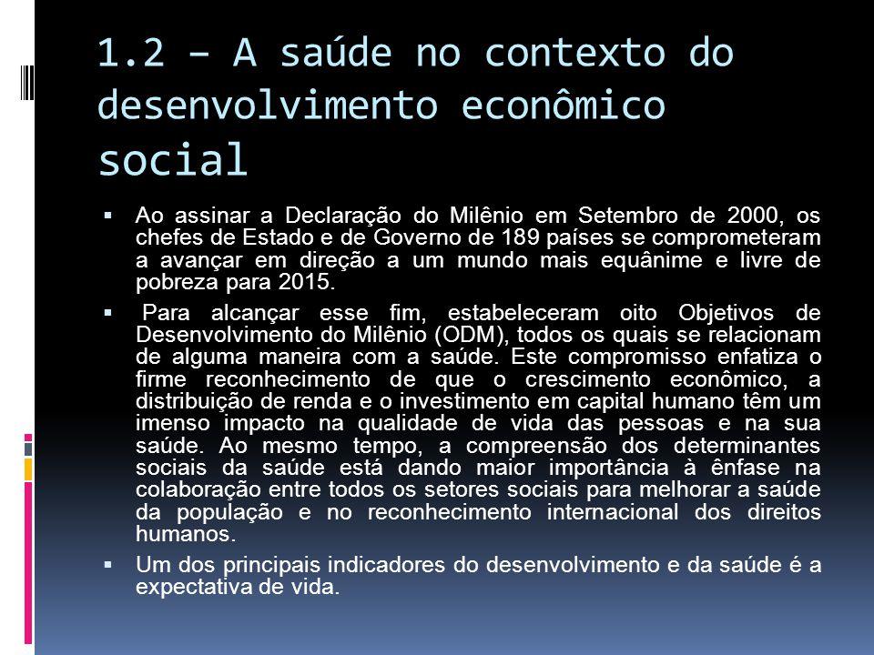 1.2 – A saúde no contexto do desenvolvimento econômico social