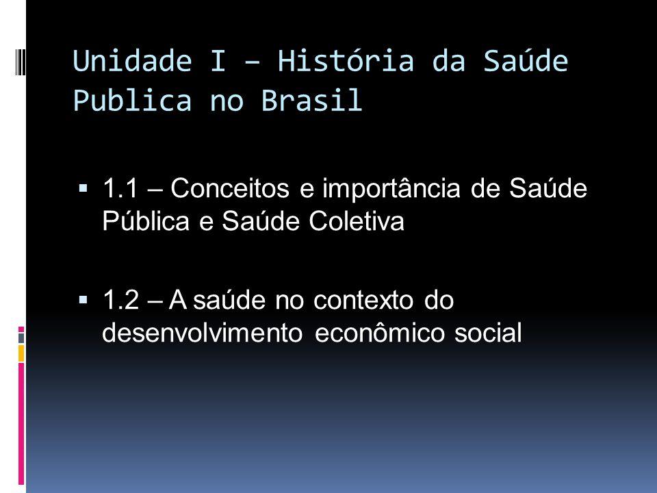 Unidade I – História da Saúde Publica no Brasil