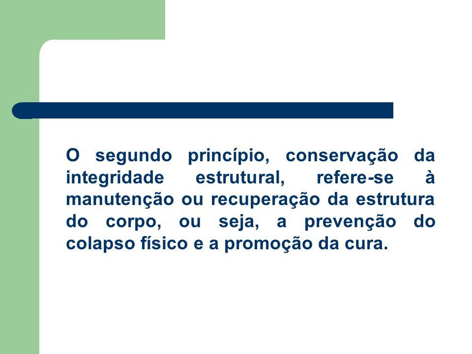 O segundo princípio, conservação da integridade estrutural, refere-se à manutenção ou recuperação da estrutura do corpo, ou seja, a prevenção do colapso físico e a promoção da cura.