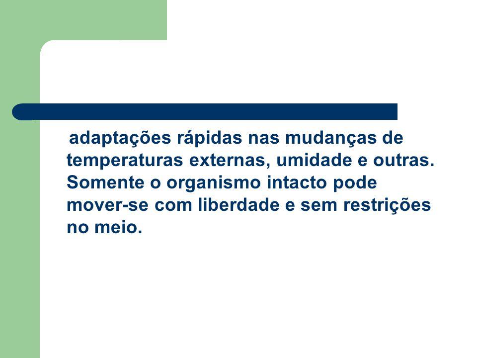 adaptações rápidas nas mudanças de temperaturas externas, umidade e outras.