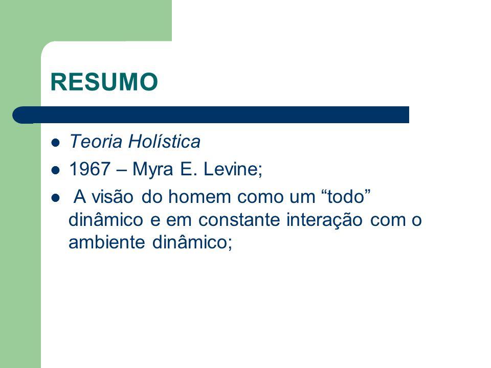 RESUMO Teoria Holística 1967 – Myra E. Levine;