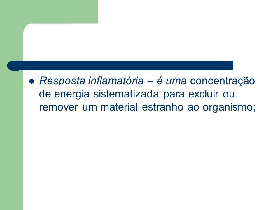 Resposta inflamatória – é uma concentração de energia sistematizada para excluir ou remover um material estranho ao organismo;