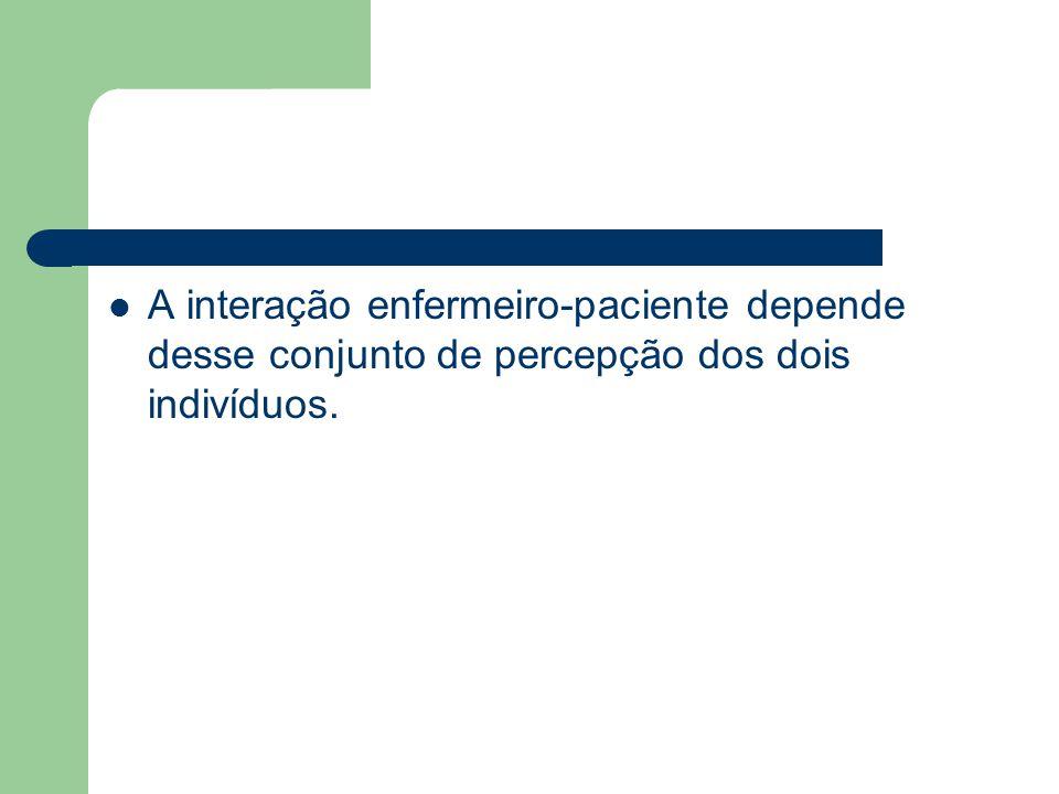A interação enfermeiro-paciente depende desse conjunto de percepção dos dois indivíduos.