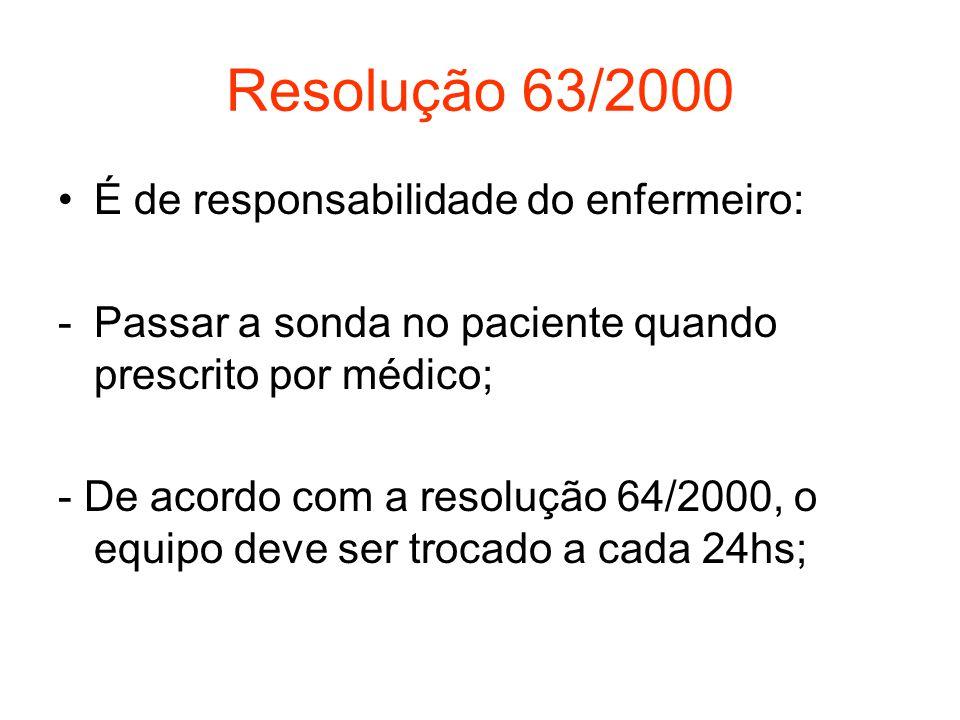Resolução 63/2000 É de responsabilidade do enfermeiro: