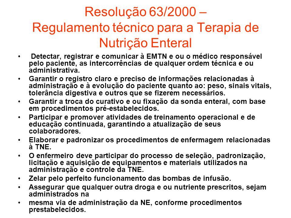 Resolução 63/2000 – Regulamento técnico para a Terapia de Nutrição Enteral