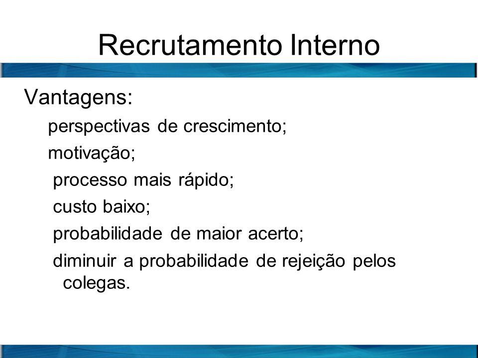 Recrutamento Interno Vantagens: perspectivas de crescimento;
