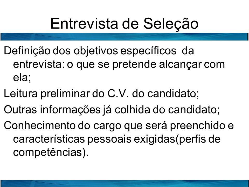 Entrevista de Seleção Definição dos objetivos específicos da entrevista: o que se pretende alcançar com ela;