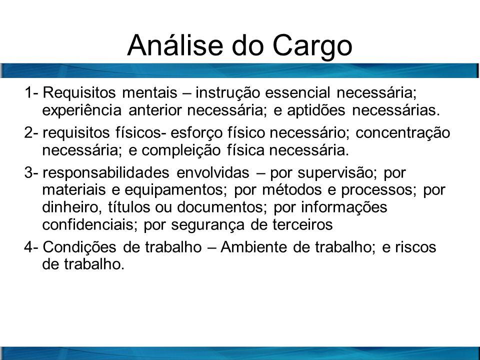 Análise do Cargo 1- Requisitos mentais – instrução essencial necessária; experiência anterior necessária; e aptidões necessárias.