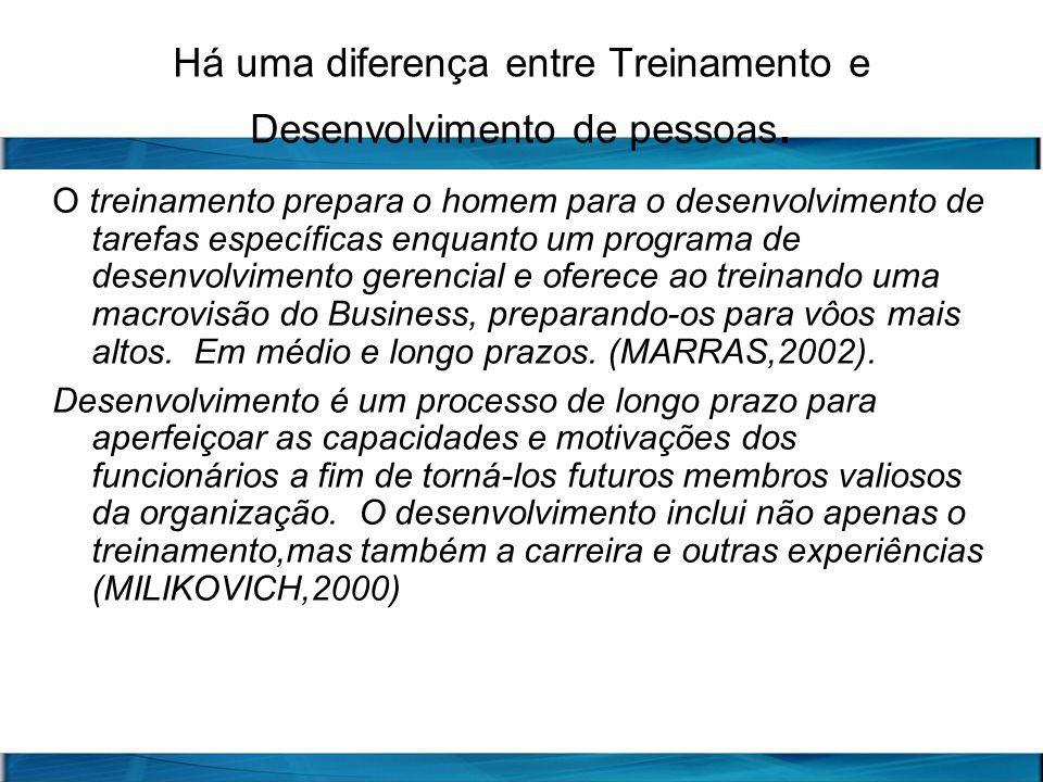Há uma diferença entre Treinamento e Desenvolvimento de pessoas.