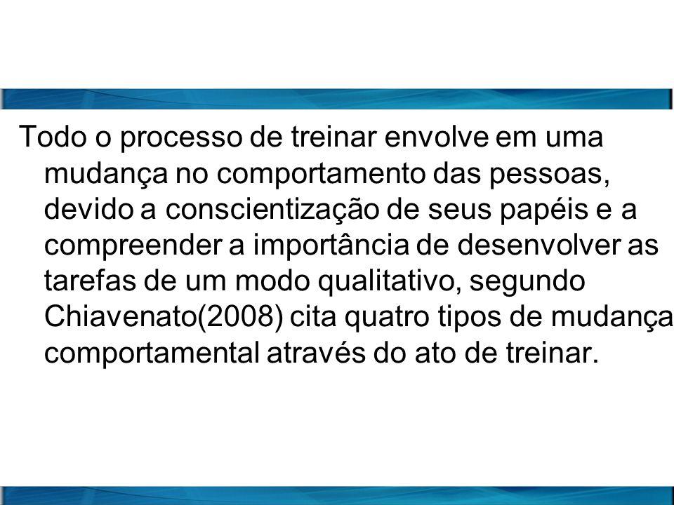 Todo o processo de treinar envolve em uma mudança no comportamento das pessoas, devido a conscientização de seus papéis e a compreender a importância de desenvolver as tarefas de um modo qualitativo, segundo Chiavenato(2008) cita quatro tipos de mudança comportamental através do ato de treinar.
