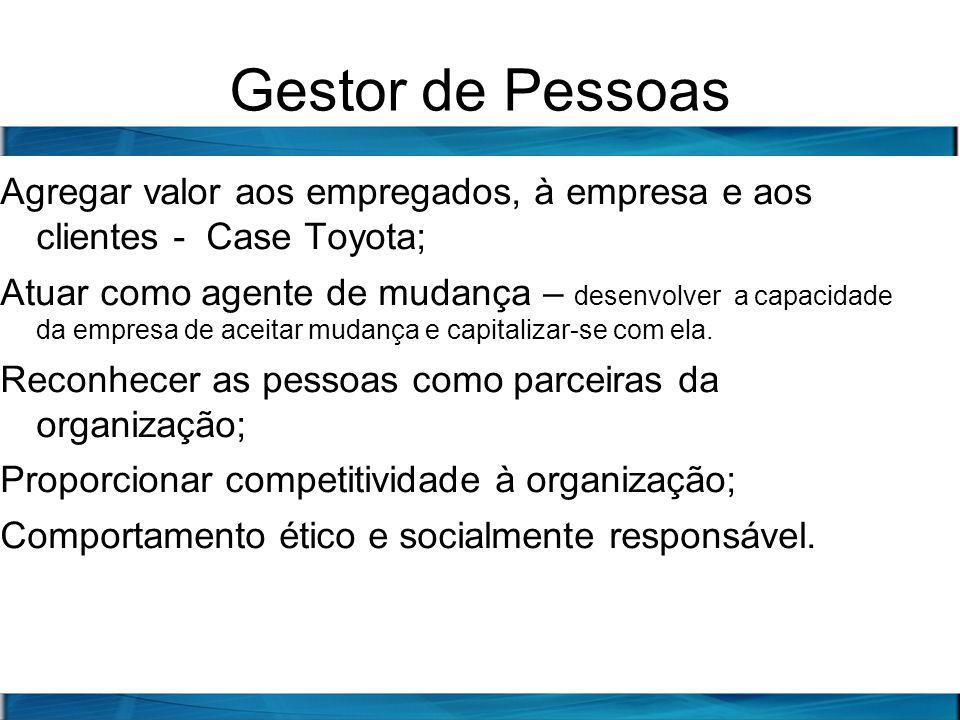 Gestor de Pessoas Agregar valor aos empregados, à empresa e aos clientes - Case Toyota;