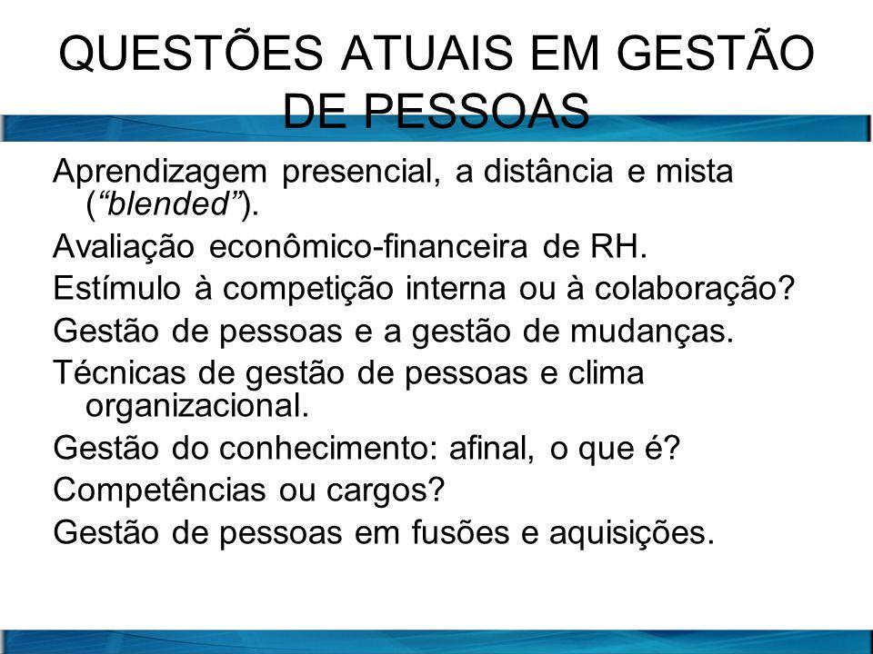 QUESTÕES ATUAIS EM GESTÃO DE PESSOAS