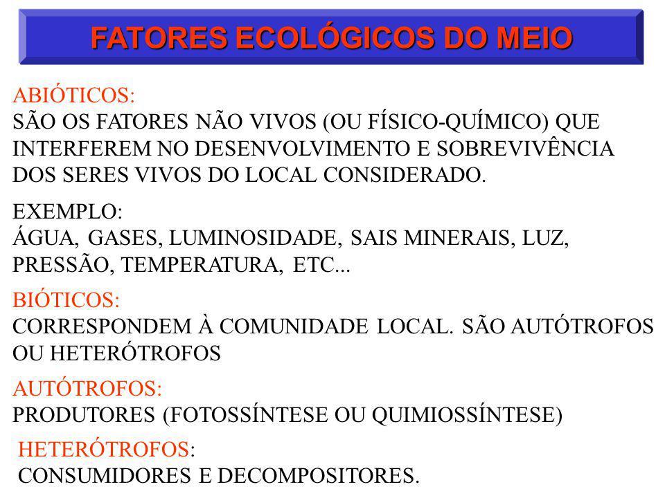 FATORES ECOLÓGICOS DO MEIO