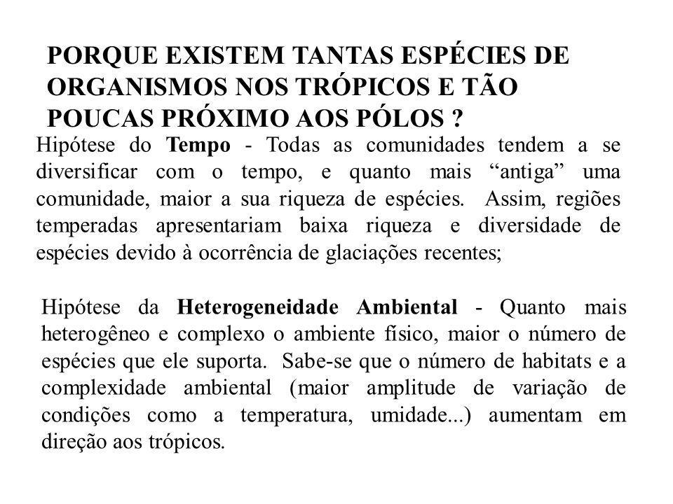 PORQUE EXISTEM TANTAS ESPÉCIES DE ORGANISMOS NOS TRÓPICOS E TÃO POUCAS PRÓXIMO AOS PÓLOS