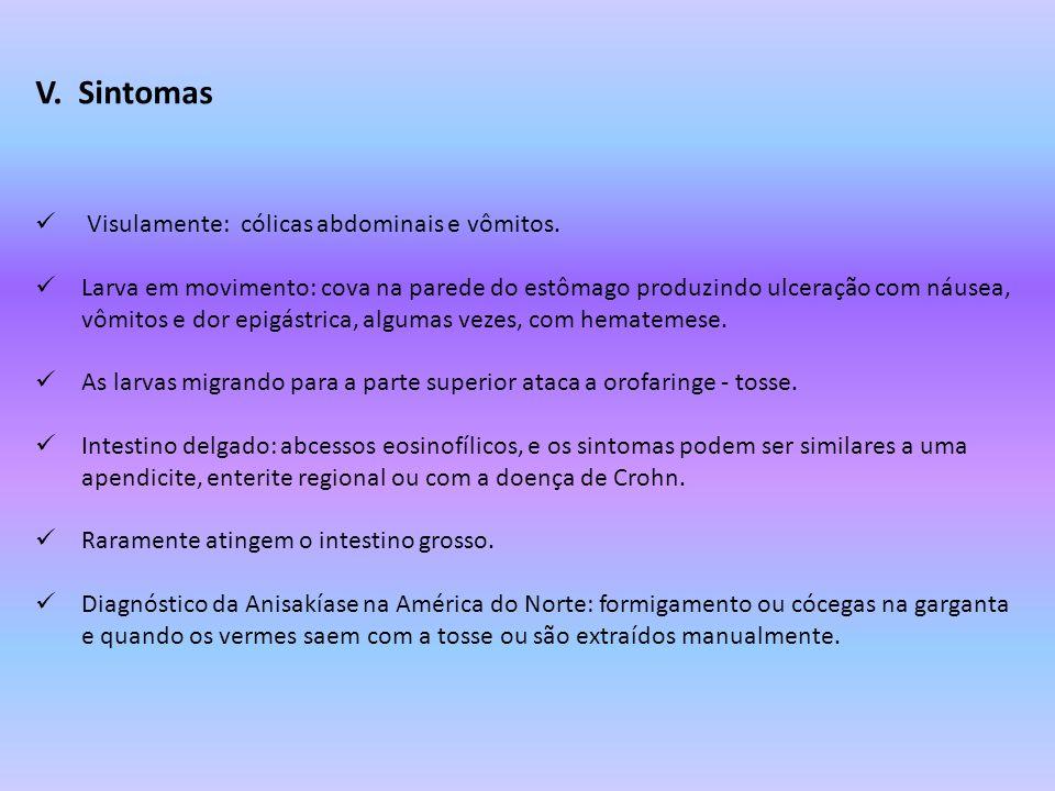 V. Sintomas Visulamente: cólicas abdominais e vômitos.