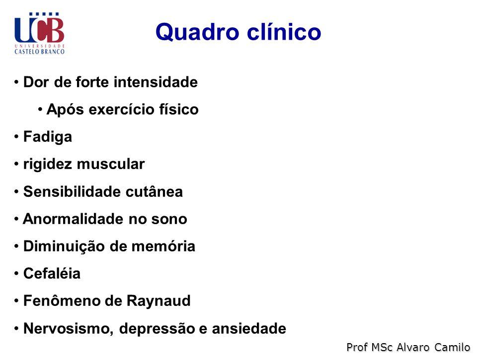 Quadro clínico Dor de forte intensidade Após exercício físico Fadiga