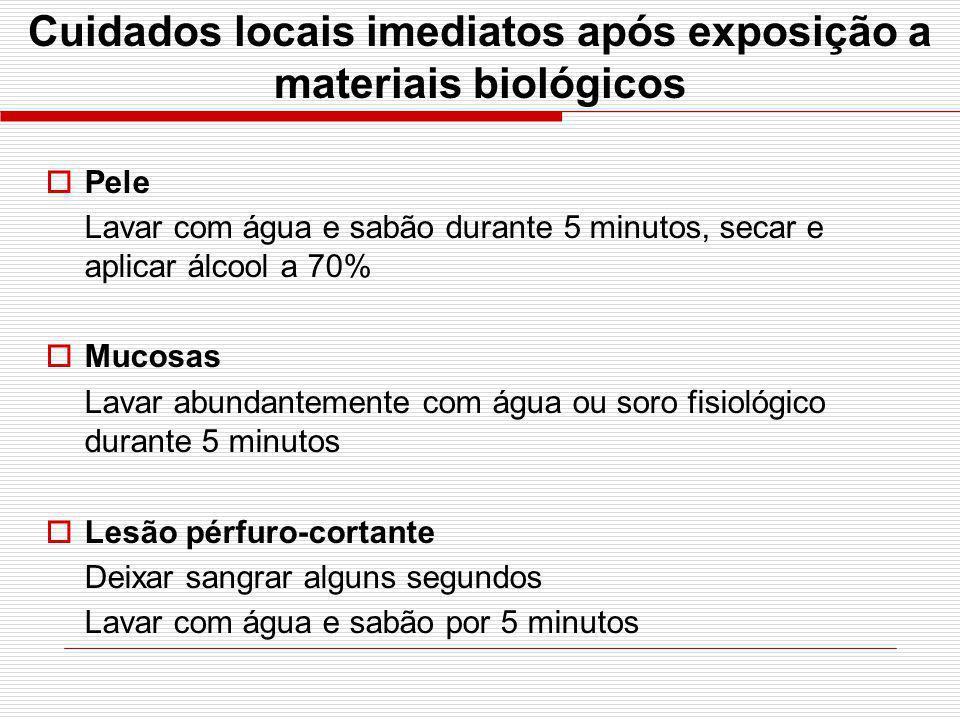 Cuidados locais imediatos após exposição a materiais biológicos