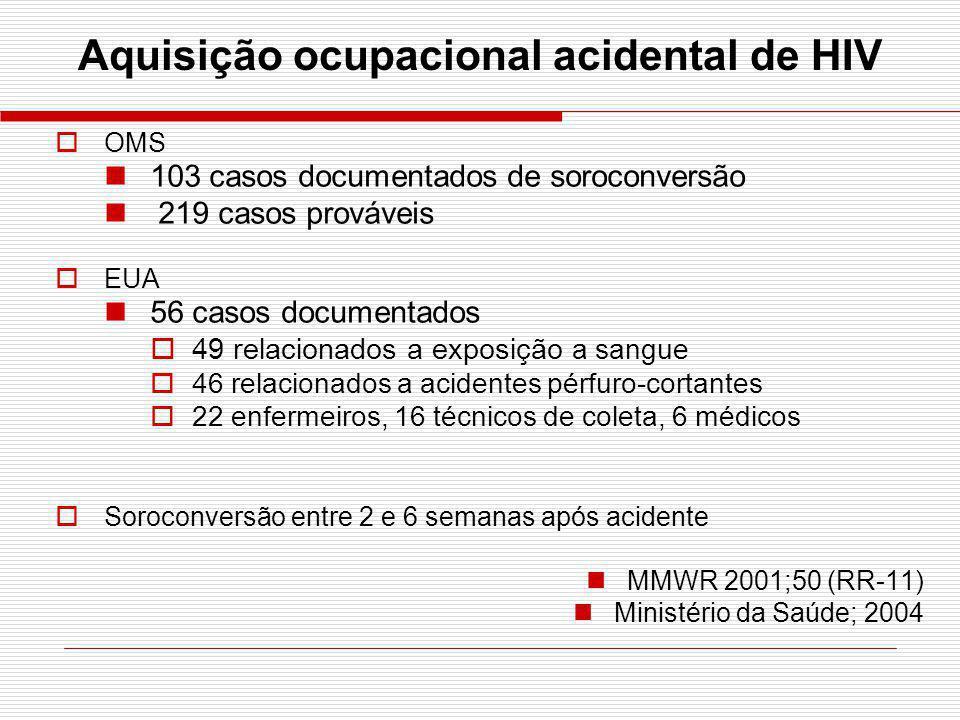 Aquisição ocupacional acidental de HIV