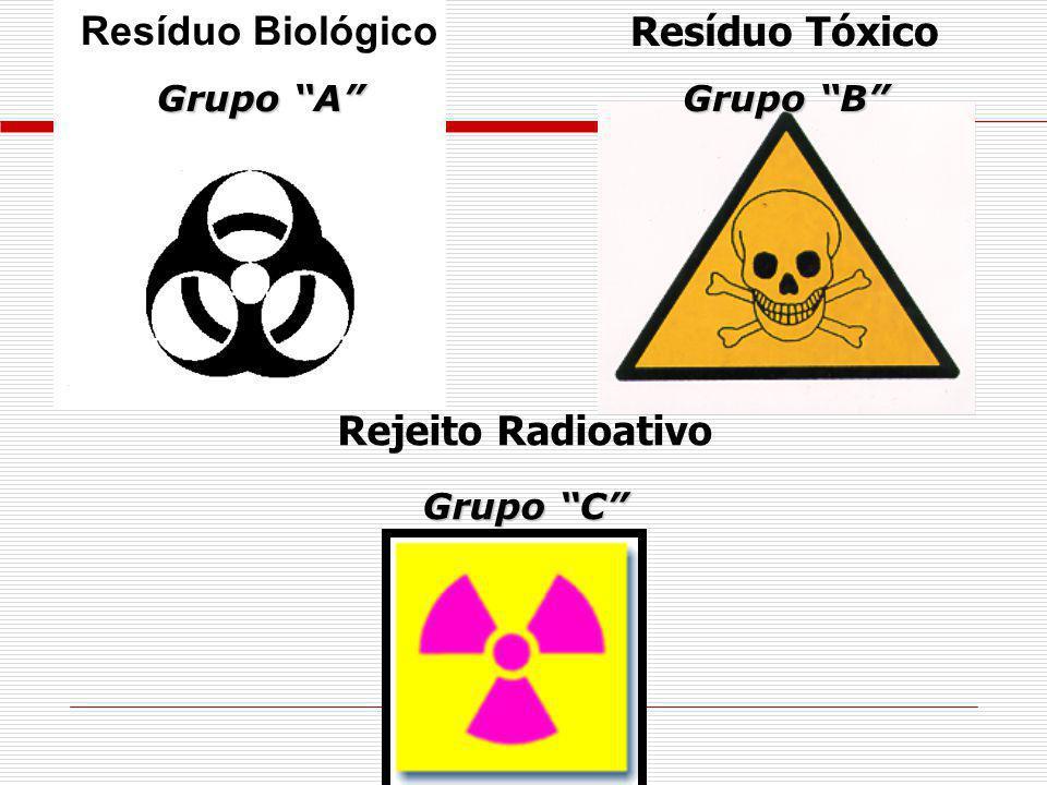 Resíduo Biológico Resíduo Tóxico Rejeito Radioativo Grupo A
