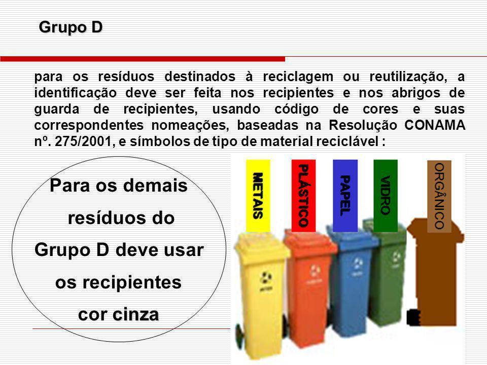 Para os demais resíduos do Grupo D deve usar os recipientes cor cinza