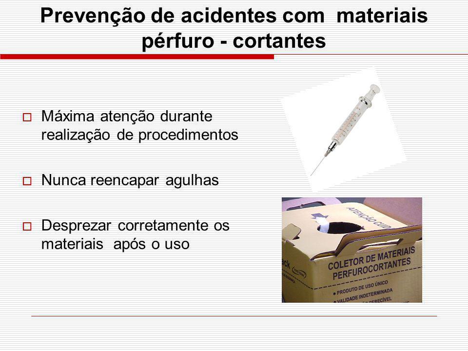 Prevenção de acidentes com materiais pérfuro - cortantes